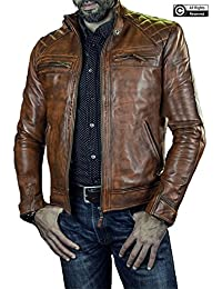 44a5877e1855 Mens Cafe Racer Brown Retro Style Quilted Motorcycle Biker Genuine Leather  Jacket