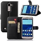 Funda LG K10,Vikoo(7 colores)Tapa de Cuero de La PU Case de la Cartera con Ranuras para Tarjetas Incorporadas para LG K10 Smartphone PU Textura Lichi Case - Negro