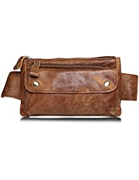 Jonon Unisex Bolso de cintura de cuero genuino marrón Messenger Fanny Pack Bum Bag para hombres