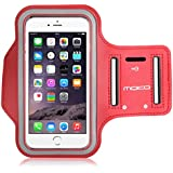 MoKo Sports Armband for iPhone 6s Plus / iPhone 6 Plus, Samsung Galaxy Note 5 / S6 edge+, Droid Turbo and LG G4 / G3, Card Slot, Sweat-proof, Rojo (Size S, Compatible with Cellphones up to 5.7 Inch)