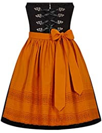 Original Steindl München-Salzburg Dirndlschürze 100 % Baumwolle orange - 48cm (Mini), 57cm (Midi)