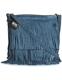 BHBS Femmes Sac à Main de Daim Italien Cuir Tassle Frange Cowgirl épaule à la Mode 32x26 cm (LxH)