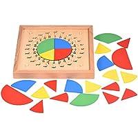 Zerodis Bebé de madera Juguetes matemáticos Matemáticas circulares División de fracciones Material didáctico Junta Montessori Desarrollo de inteligencia Juguete de regalo para niños Niños
