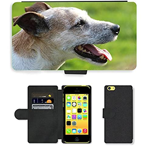 PU Flip Carcasa Funda de Cuero Piel Cubre Case // M00133651 Cane Capo Close Parson Russell Terrier // Apple iPhone 5C