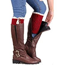 ✽Internet✽ Mujeres Lace Stretch Boot pierna puños calcetines Boot