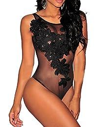Lukis Damen Rückenfrei Bodysuit Einteiliger Nachtwäsche Reizwäsche (Schwarz)