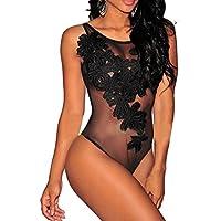 V-SOL Mono Mujer Conjunto Braga Sin Manga Bordado Floral Bodysuit (Negro)