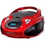 CD Radio mit USB SD-Card Wiedergabe CD / MP3 Player e USB Tragbares Programmierbares Stereo Radio AUX IN Kopfhörereingang Farbwahl (Rot)