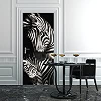 PT0188 Wall Art Decorazione adesiva per porte arredo casa - Porta zebre - Stampa su PVC adesivo bubble free