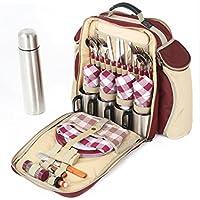 Greenfield Collection Super Deluxe - Mochila de picnic para cuatro personas, color rojo cereza
