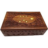Scatola di legno gioielli, ottone opera scolpita