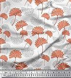 Soimoi Weiß Seide Stoff Blume kunstlerisch Stoff drucken