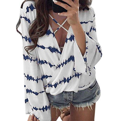 Womens Blouse KAKING Femmes en mousseline de soie à manches longues Sexy V-Neck Stripe T-Shirt Overlapping Top (Bleu, M)