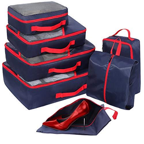 Organizadores para Maletas, 7 Set de Bolsas de Equipaje, Faxsthy Organizador Viaje de Malla con 2 Bolsas de Zapatos de Varios Tamaños
