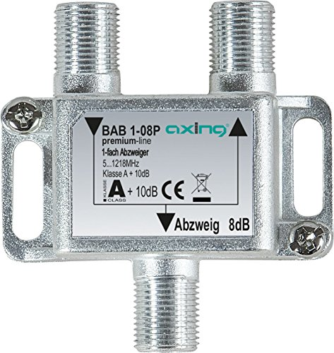 Axing BAB 1-08P 1-fach Abzweiger 8dB Kabelfernsehen CATV Multimedia DVB-T2 Klasse A+, 10dB, 5-1218 MHz metall