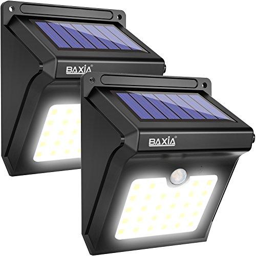 BAXiA Foco Solar, Luces Solares LED Exterior con Sensor de Movimiento, Lámpara Solar Exteriors Impermeable Solares de Pared de Seguridad para Jardín, Patio, Camino, Escalera- 28LED, 2 Piezas
