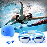 Auveach Occhiali da Nuoto Anti-Appannamento Anti-UV con Tappi per Le Orecchie, Silicone Swim cap e Stringinaso Vestito Vetri di Nuoto Impostati (Blu)