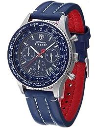 Detomaso Firenze - Reloj de cuarzo para hombres, con correa de cuero de color azul, esfera azul