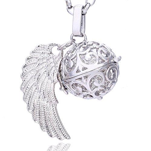 Morella Damen Schutzengel Halskette Edelstahl 70 cm mit Anhänger Engelsflügel und Klangkugel Zirkonia weiß Ø 16 mm in Schmuckbeutel