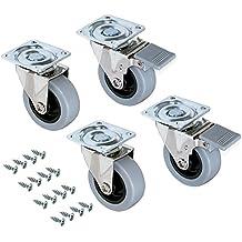 Emuca 2036321 - Lote de 4 ruedas pivotantes grises para mueble (2 con freno y 2 sin freno) diámetro 75 mm con placa de montaje y rodamiento de bolas