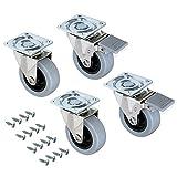 Emuca 2036221 Set di 4 Rotelle Pivotanti per Mobile, con Piastra di Assemblaggio e Cuscinetti a Sfere, Grigio, Diametro 50mm