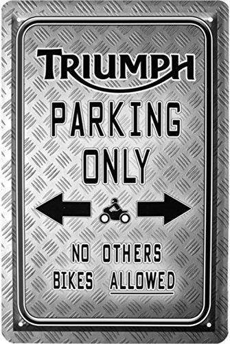 Triumph Parking Only Moto Bike Cartel de chapa 20x 30Retro Chapa 1715