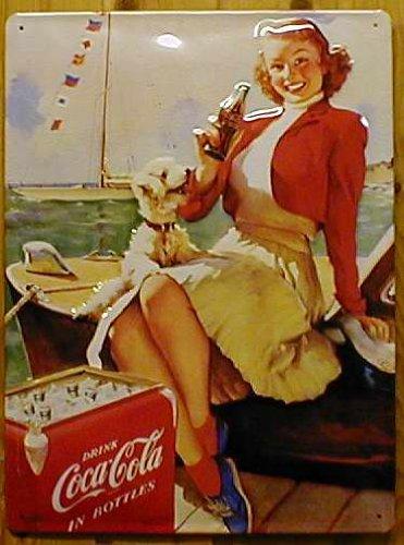Blechschild Nostalgieschild Coca Cola Coke Boot Mädchen mit Hund retro Schild Werbung (Vintage Coca-cola-werbung)
