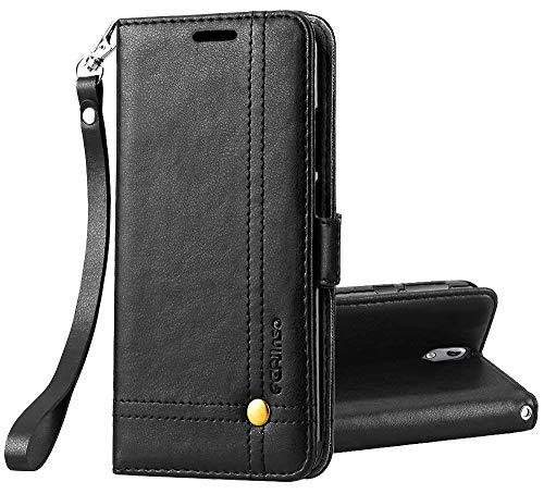 Ferilinso Cover Nokia 5.1 Custodia, Cover Pelle Elegante retrò con Custodia Slot Holder per Carta di Credito Custodia di Chiusura Magnetica per Flip per Nokia 5.1(Nero)