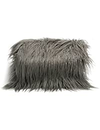 Zarapack Women s Grey Faux Fur Long Hair Over Size Clutch Lunch Bag Purse 43de94b24d5ca