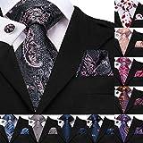 60 Arten Seidenkrawatten für Männer Set Manschettenknöpfe und Taschentuch Krawatten für Männer Paisley Plaid Streifen Rot grün ausgefallene Hochzeitskrawatte
