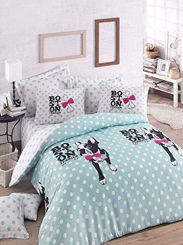 Luxus Bettwäsche Set 3Stück Baumwolle Rich Hohe Qualität Leinen King Quilt Bettbezug mint fuchsia schwarz weiß Dog Puppy Animal Pet Love Mädchen Jungen Teenager Erwachsene Mops Chihuahua Boston Terrier Cartoon Bone (King Leinen Schwarz)