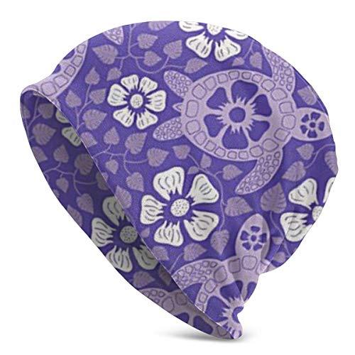 Turtles in Purple Summer Beanie für Herren und Damen - Leichte Chemo Cotton Fashion Mütze