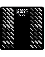 Dr. Fit Glass Top Electronic Digital Weighing Scale (Black)