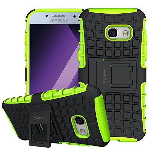Funda Galaxy A3 2017, ykooe Samsung A3 2017 Teléfono Híbrida de Doble Capa con Soporte Carcasa para Samsung Galaxy A3 2017 4,7' (A3 2017 funda Verde)