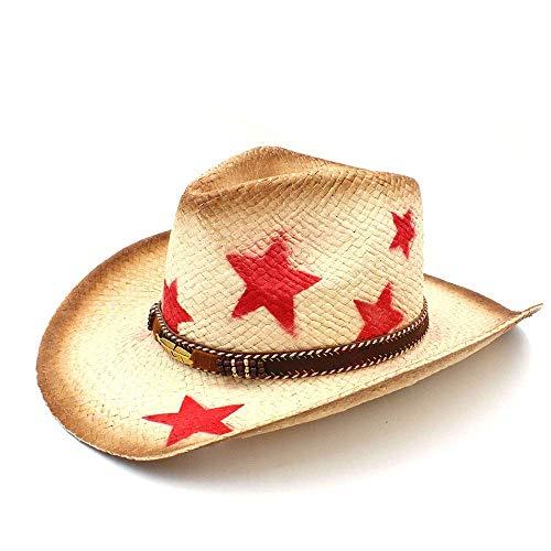 Hechgobuy Hüte & Mützen Western Cowboy Männer Strohhut mit Punk verlässt Band Star Lady Papa Sombrero Hombre Cowgirl Jazz (Farbe : Naturally, Größe : 58 cm) -