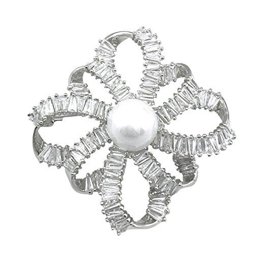 Ribbon-blumen-kleid (SELOVO Zirkonia Blume Ribbon künstliche Perle Schal Kleid Brosche und Anstecknadel Silber-Ton)