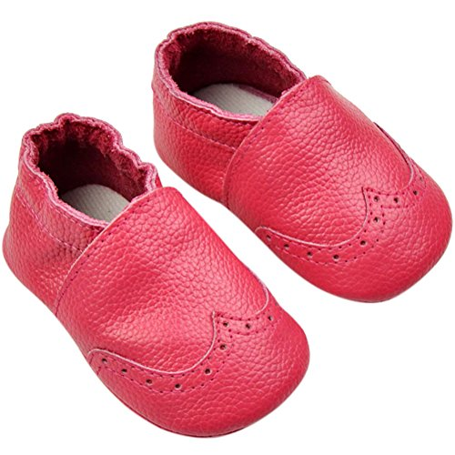Fire Frog  Baby Genuine Leather Shoes, Baby Jungen Lauflernschuhe Hot Pink