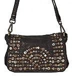 Panego - kleine Umhängetasche Ledertasche Abendtasche mit Vintage Nieten Ausgehtasche Schultertaschen 26x18x7 (B x H x T), Farbe:schwarz