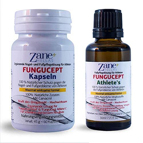 FunguCept Advanced Repair Solution. 100% natürliches Fußpflegeprodukt. Schnellere und bessere Resultate. Athleten, 1 oz - 30 ml, mit 60 Softgelkapseln. 108 mg Carvacrol von Zane Hellas