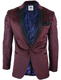 Marc Darcy Mens Velvet Paisley Wine Black Blazer Tuxedo Dinner Jacket Smart Casual