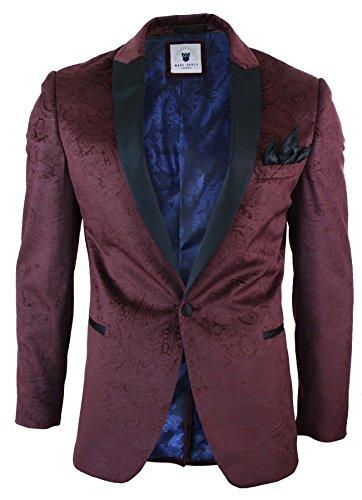 Herrensakko Burgund Wein Samt Optik Paisley Design Marc Darcy Tuxedo Dinner (Neue Samt-blazer)