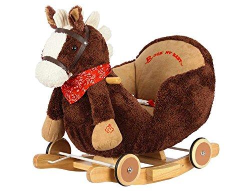 Dunjo® Plüsch Schaukelpferd | Baby Schaukeltier Pferd | Für Mädchen und Jungen ab 1 - 3 Jahre | mit Sicherheitsgurt Rollen und Musik