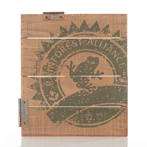 Honey and Me Coffee Collection Rainforest Alliance Green Frog Logo 25,4 x 22,9 cm Palettenholzscharnier Akzent-Tischschild -