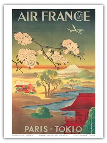 Tokio Paris (Tokyo) - Air France - Mt. Fuji Et Fleurs De Cerisier - Vintage Airline Travel Poster c.1952 - Reproduction Professionelle d'art Master Art Print - 23cm X 31cm