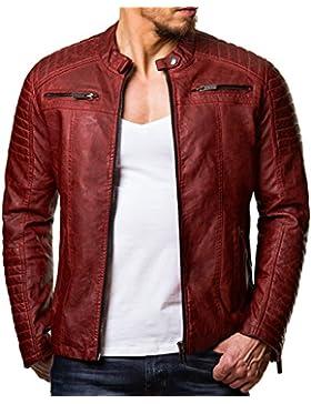 Red Bridge Hombres chaqueta de imitación de cuero de la chaqueta de cuero rojo tamaño S