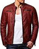 Redbridge Giacca da uomo, stile biker, in pelle vera e cotone con elementi trapuntati Rot - Kunstleder 2XL
