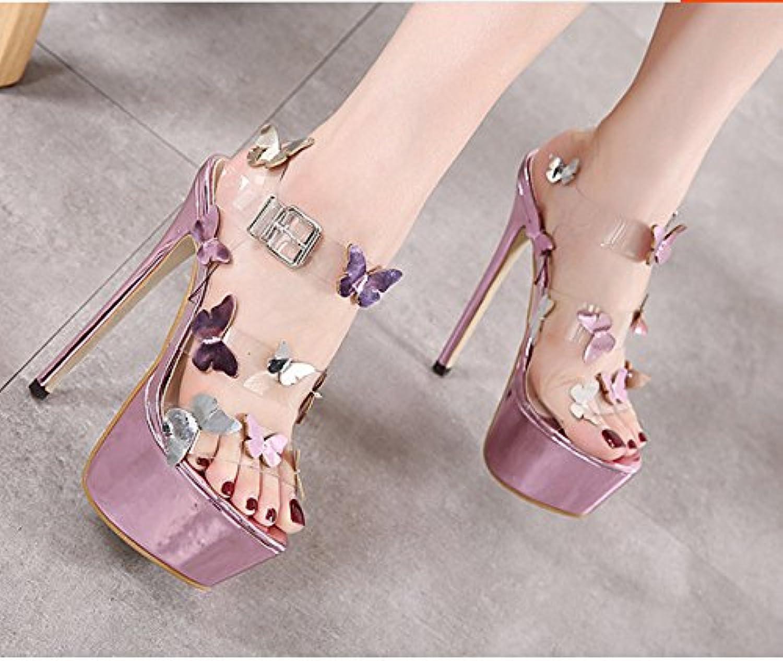 ZHUDJ Stilettos Mirren Butterfly Zapatos con Un Buen Club Catwalk Peep Toe Heels Sandalias,Violeta,36