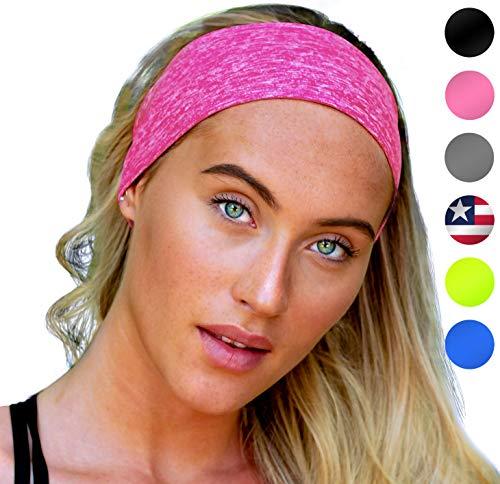 E Tronic Edge UNISEX Stirnband Damen und Herren | Schweißband mit Anti-Rutsch-Streifen | Sport Stirnband für alle Kopfgrößen (Pink)
