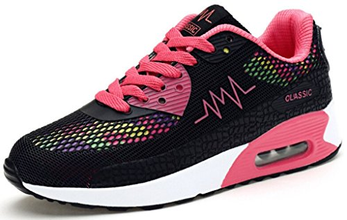Padgene Women's Mesh Air Max Sneakers Multisport Running Shoes Trainers (Black, EU 38/UK4.5)