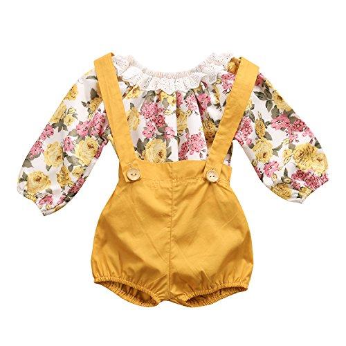 WangsCanis Baby Mädchen Floral Runde Spitzenkragen Strampler mit Hosenträger Kurze Hose 2 Stück Mädchen Bekleidungssets (1-2 Jahre)